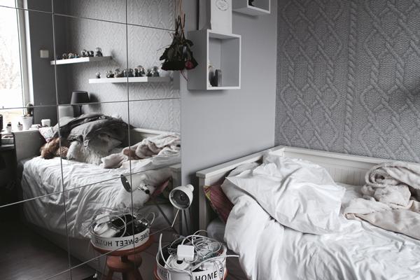 Decoración hogar cama paredes